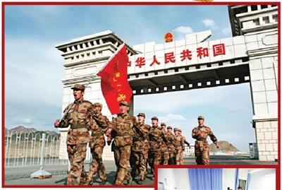 新疆军区塔克什肯边防连组织新兵参观国门
