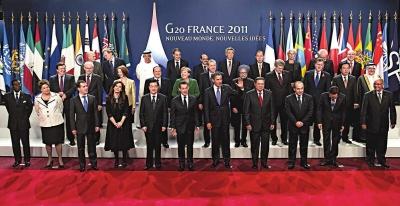 3日,参加戛纳G20峰会的领导人合照 资料图片 -大公报数字报